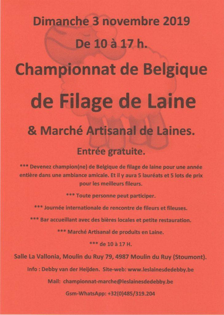 Championnat de belgique de filage de laine, 3 novembre 2019, Belgique